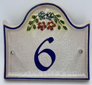 Vintage Bristow Spanish Mediterranean Ceramic Tile Address Plaque #6 Malta