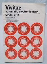 Vivitar model 283 electronic flash instruction manual 1978