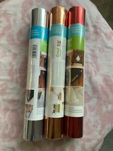 "Cricut Adhesive Foils X 3 (12"" X 48"" Rolls) - Silver, Red and Rose Gold"