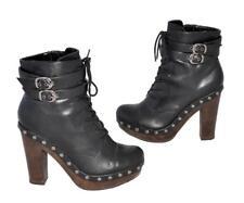 "Betts ""Chelsea"" Black Non-Leather Platform Sole Lace-Up Ankle Boots Size 8/EU39"
