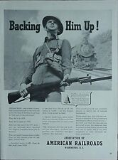 "1941 ASSOCIATION OF AMERICAN RAILROADS ADVERTISEMENT (WWI ""DOUGHBOY"" PICTURE"