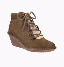 NEW Clarks Womens Leather Wedges Ankle boots Hiking MARSDEN Khaki Brown