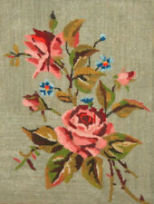 ANTIQUE EUROPEAN HAND MADE FLORAL ROSES FLOWERS TAPESTRY GOBELIN