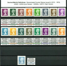 2019 issued machin stamps ALL sources (Book, Counter, Bus Sheet) M18L & M19L