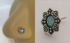 Sterling Silver Nose Stud Pin Ring Bent L Shape Flower Green Opal 20 gauge