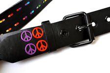 Mens Belt Black Synthetic Leather Peace Logos Rainbow LGBT Gay Int 105 cms 42''