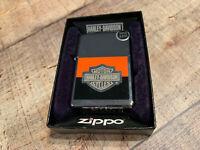 Zippo L  2008 Lighter Harley Davidson Orange Black Shield Model # 24507