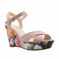 Ladies Womens Ankle Straps Heels Floral Print Wedges Platform Sandals Shoes Size