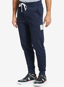 Tommy Hilfiger Men's Dark Navy Box Logo Fleece Lined Sleepwear Jogger Pants