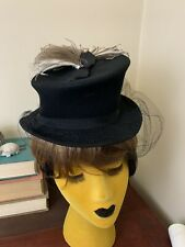 Vintage 30s 40s Tilt Hat With Feathers Top Hat Riding Hat