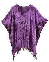 BeautyBatik Purple Womens BOHO HIPPIE Batik Tie Dye Tunic Blouse Kaftan Top