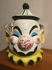 Vintage 1950's Sierra Vista Ceramic Clown Bust Cookie Jar Pottery            o1
