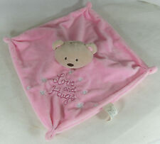 Pink Bear Soft Toy Rattle Blanket Comforter Soother Blankie Card Factory