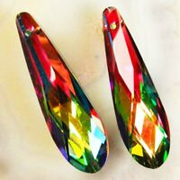 2Pcs 48x14x10mm Faceted Rainbow Titanium Crystal Teardrop Pendant Bead SD201989
