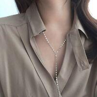 Damen Halskette Y-Form echt Sterling Silber 925 Pulloverkette