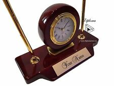 Personalized Rosewood Piano Finish Office Desk Quartz Clock w/ Two Pens-Engraved