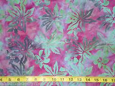 Komo Bali Batik Indonesia Cotton Fabric Leaves Fuchsia Green Sewing, Quilt,BTHY