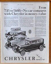 Vintage 1927 magazine ad for Chrysler - Four models, No car compares in value