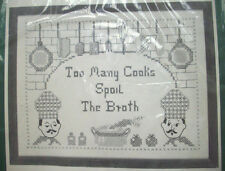 Too many cooks spoil the Broth stamp linen embroidery Sampler kit Bucilla unopen