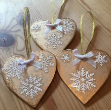 3 X Handmade Shabby Chic Christmas Decorations Frozen Snowflakes Gold Iridescent