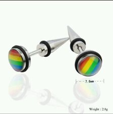 High Quality Gay Pride LGBT Rainbow Stainless Steel Stud Earrings Unisex (060B)