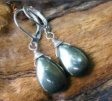 *PI*AAA Natural SMOOTH PYRITE BRIOLETTE .925 Sterling Silver Leverback earrings!