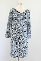 Tahari ASL Levine Pale Ice Blue Black Abstract Swirl Print Shift Dress Size 8