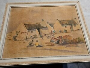 Watercolour Of A South African Village By S African Artist Lorna Douglas...