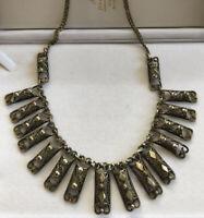 Vintage Old Brass Filigree Detailed Necklace