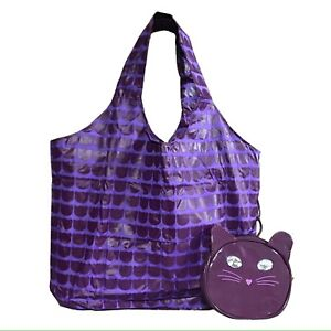 New Katy Perry Purr Shopper Tote Bag with Cat face Pouch Purple