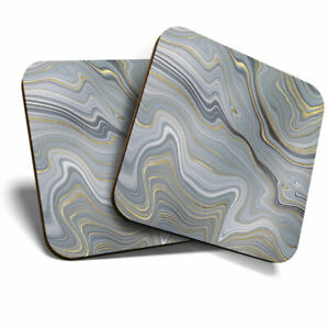 2 x Coasters - Grey Marble Gold Stone Ink Art Home Gift #21660
