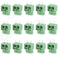 2 PIN PCB Mount Screw Terminal Block Connectors - Green (15 pcs)
