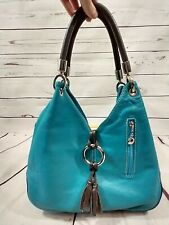 Borse in Pelle Genuine Leather Made in Italy Shoulder Bag Purse Turquoise Brown
