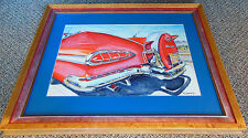 """ARTIST SIGNED ORIGINAL WATERCOLOR ART - """"59 CHEVY"""" BY TED STRATTON JR. - FRAMED"""