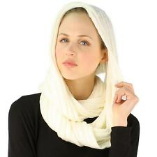 Winter Soft Chunky Pullover Knit Long Loop Infinity Ski Hood Cowl Scarf Ivory