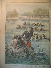 REGIMENT 18e REGIMENT DE DRAGON CHEVAUX PASSAGE DE RIVIERE LE PETIT JOURNAL 1896