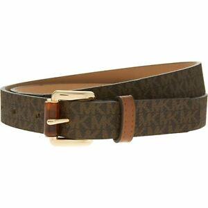 "MICHAEL KORS Women's Faux Leather Monogram Belt, Brown, 1"" wide, size M"
