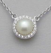 .925 Sterling Silver 8 mm White Pearl Halo Pendant Necklace - June Birthstone