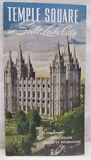 Vintage Temple Square in Salt Lake City Utah Bureau of Information Booklet USA