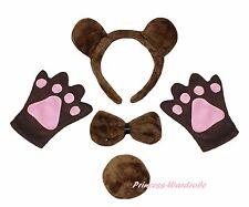 Halloween Coffee Brown Bear Headband Bow Tail Paw Kid Child School Party Costume