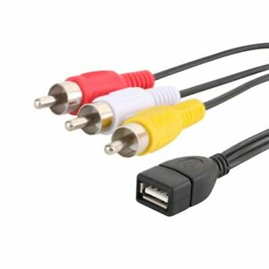 5FT USB 2.0 A Female to 3 RCA Male Audio Video AV Adapter Cable Cord For PC TV