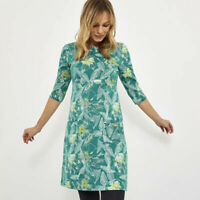 Weird Fish Green Floral Print Scoop Neck 3/4 Sleeves Cotton Tunic Dress Top