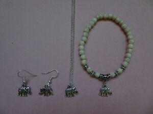 Tropicalia Hancrafted Bracelet Necklace Earrings Set Elephant Howlite Indie Boho