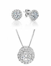"""Round Solitaire Halo Earring&Necklace Set Solid 14K White Gold+16""""  Gold Chain"""