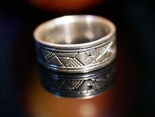 Toller 925 Silber Ring Spirituell Symbole Wirbel Stern Struktur Vintage Retro