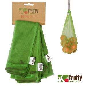 Fruity Sacks Reusable Produce Shopping Bags Fruit & Veg Eco Bag - Set of 3 OR 6