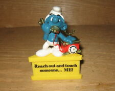 Vintage Smurf A Gram Telephone Reach Out & Touch Someone ME Figure on Stand