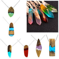 Vintage Resin Wood Colorful Pendant Handmade Sweater Necklace Rope for Men Women