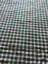 Vintage Green / White Check Tablecloth Picnic - Caravan 138cm X 174cm