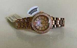 NEW! ANNE KLEIN SWAROVSKI CRYSTALS ACCENT ROSE GOLD DIAL BRACELET WATCH $95 SALE
